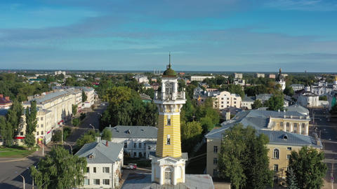 Aerial around view of Fire tower in Kostroma Footage
