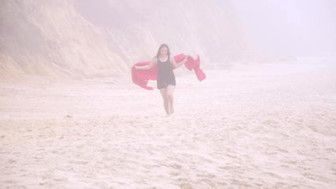 Girls enjoy their summer vacation at the beach - pure... Stock Video Footage