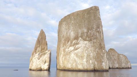 Galapagos Kicker Rock nature landscape - iconic landmark and tourist destination Live Action
