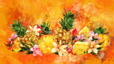 The appearance of the pineapple on a watercolor background CG動画
