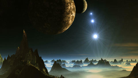Two Moon and Shooting Stars over Alien Planet Animation