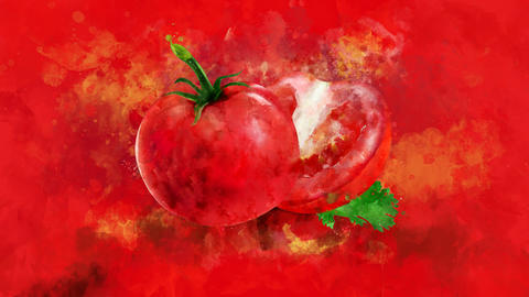 The appearance of the tomato on a watercolor background CG動画