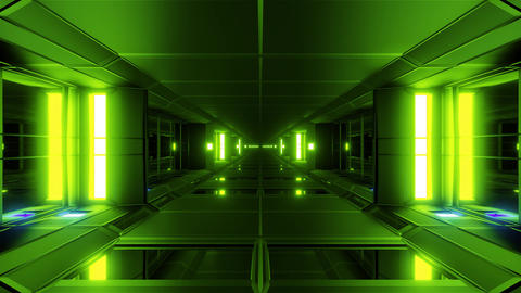 clean futuristic scifi tunnel corridor glass bottom and glass windows 3d Animation