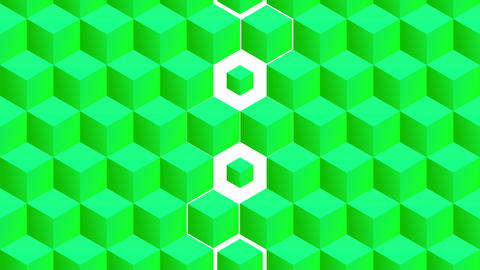 Isometric green cubes pattern vertical transition including luma matte Animation