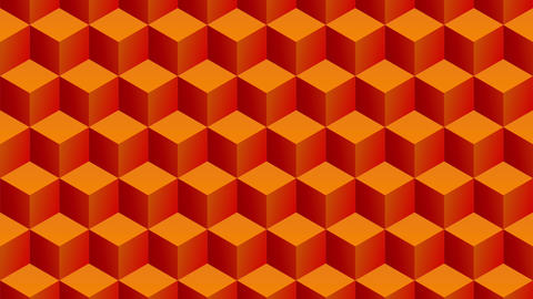 Isometric orange cubes pattern moving vertically. Seamless loop Animation