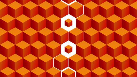 Isometric orange cubes pattern vertical transition including luma matte Animation