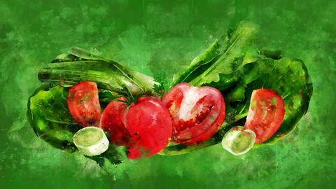 The appearance of the tomato, salad and onion on a watercolor background CG動画