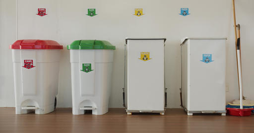 Garbage bins. concept of recycling, waste sorting and saving the environment Live Action
