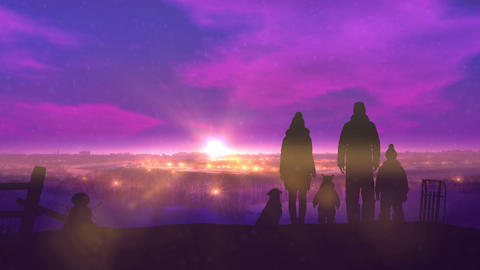 Family on the evening winter walk CG動画