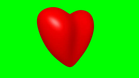 103 3d animated template logo of love on green screen with change coloured heart Animation
