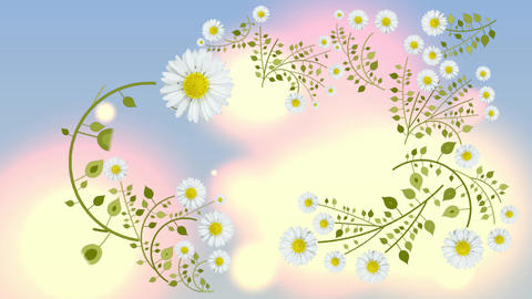 112 Animated template with flowers growing and seasom background Animation