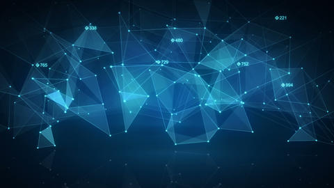 Blue network shape. Abstract loopable background Animation