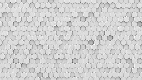 White hexagons mosaic 3D render loopable animation Animation