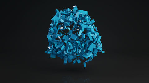 Ball cluster of bricks abstract shape 3D render loopable Animation