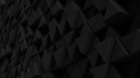 Black wall of extruded triangles 3D render loopable animation Animation