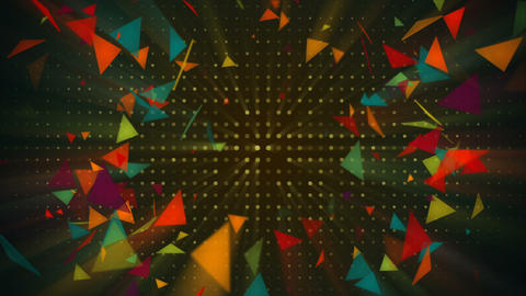 Shiny colorful triangles flying. Seamless loop abstract 3d render animation Animation