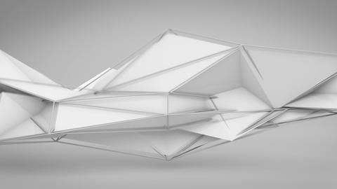 White abstract futuristic polygonal 3D shape. Loop Animation