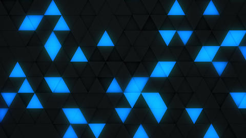 Blue and black triangles extruding 3D render loopable Animation