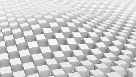 Checkered surface of white cubes waving. Loopable 3D animation Animation