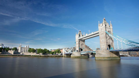 Tower Bridge long exposure time lapse in London with blue sky Footage