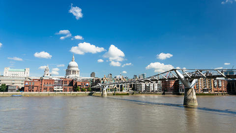 Time lapse of the Millennium Bridge in London with St. Paul's Cathedral Footage