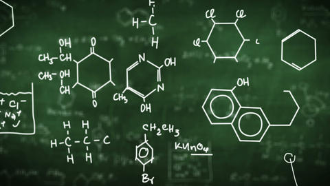 Chemical formulas on green Animation