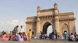 Gateway Of India with indian tourists,Mumbai,India Footage