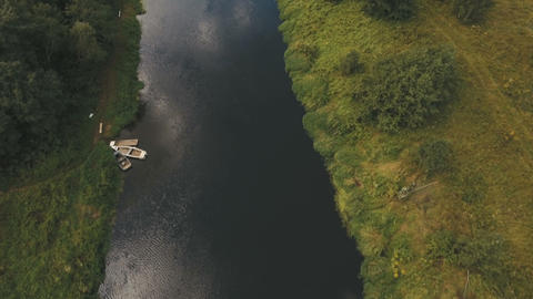 Flying over the river.Aerial video Footage