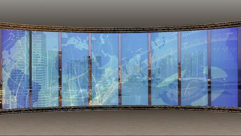 News TV Studio Set 206- Virtual Background Loop Footage