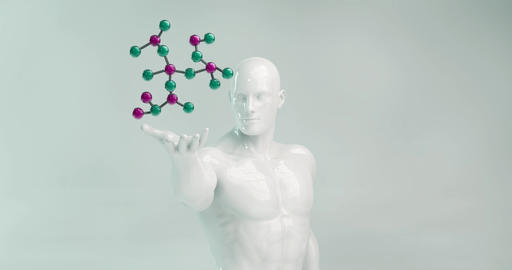 Scientist Holding a Molecule as a Science Concept Live Action
