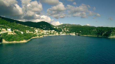 Aerial shot of Kioni Bay. Ithaca island, Greece Photo