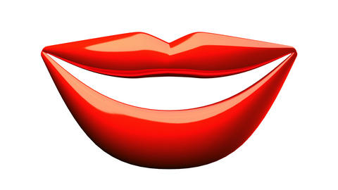 Kissing Red Lips On White Background Animation