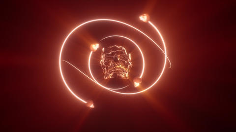 Skull Master with glowing light ray loop Animation