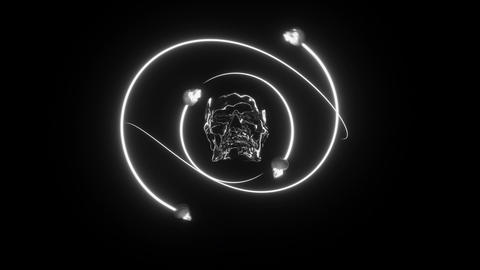 Skull Master with glowing white light loop Animation