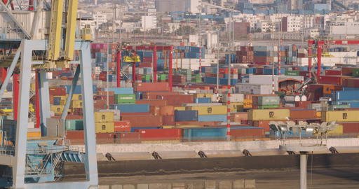 CASABLANCA, MOROCCO - October 15, 2019: Industrial containers box from freight Footage