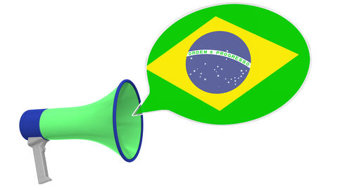 Megaphone and flag of Brazil on the speech bubble. Language or national Live Action