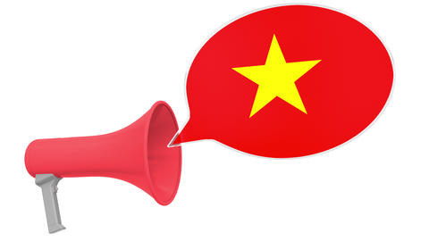 Megaphone and flag of Vietnam on the speech bubble. Language or national Live Action