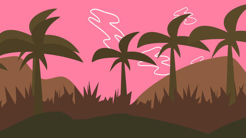 Cartoon animation background with palms in mountain, abstract backdrop Animation