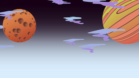 Cartoon animation background with moon and planet in space, abstract backdrop Videos animados