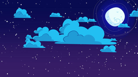 Cartoon animation background with motion clouds and moon, abstract backdrop Animation