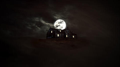 Mystical horror background with the house and moon. Happy holiday abstract backdrop Videos animados