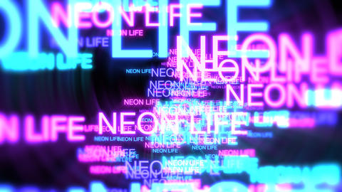 Motion of neon text Neon Life in dark background Stock Video Footage