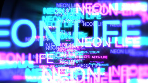 Motion of neon text Neon Life in dark background Animation