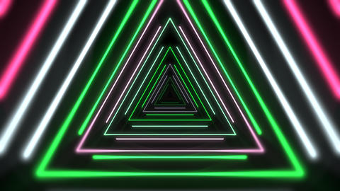 Motion colorful neon triangles, abstract background Animation