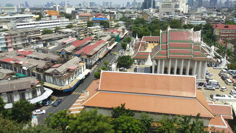 Scenery of Bangkok Cityscape From Golden Mountain Temple at Bangkok ,Thailand Live Action