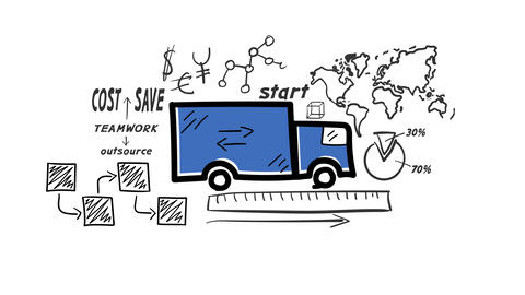 Isolated Hand Drawn Truck Icon Animation
