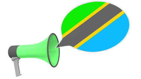 Loudspeaker and flag of Tanzania on the speech balloon. Language or national Live Action