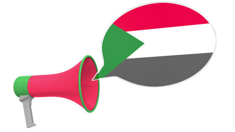 Loudspeaker and flag of Sudan on the speech balloon. Language or national Live Action