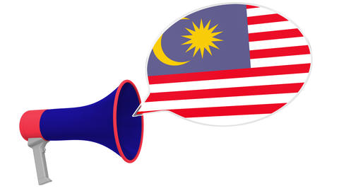 Loudspeaker and flag of Malaysia on the speech balloon. Language or national Live Action