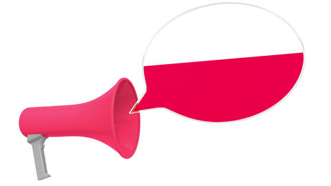 Megaphone and flag of Poland on the speech bubble. Language or national Live Action